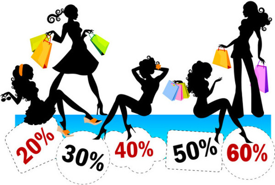 stylish shopping girl with big sale vector