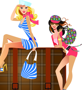 stylish traveler girls vector