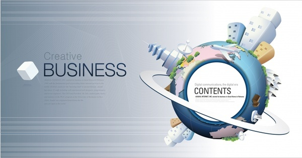 stylish vector environmental concept of global business