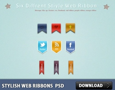 Stylish Web Ribbons Free PSD