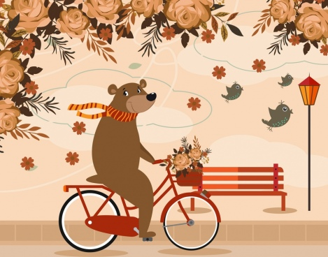 stylized animal drawing bear riding bicycle roses icons