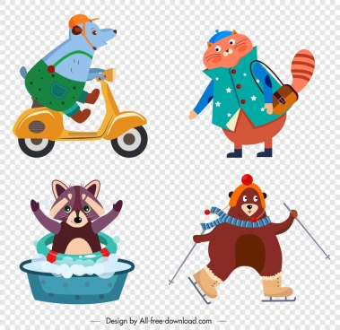 stylized animals icons mouse cat raccoon bear sketch