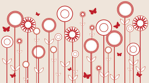stylized flowers vector graphic