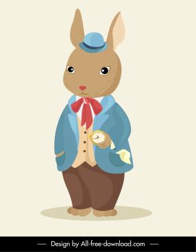 stylized rabbit icon classic gentleman sketch cartoon character