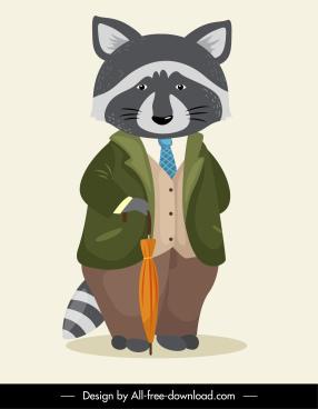 stylized raccoon icon elegant stylized sketch cartoon character