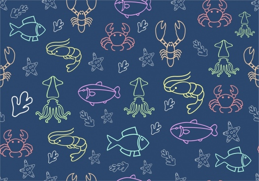sub sea creatures pattern outline colorful repeating design