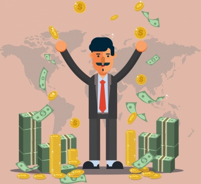 success business concept background man money coins icons