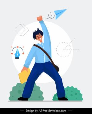 success concept background happy man office elements