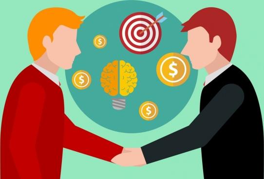 success concept design handshake brain target symbols decoration