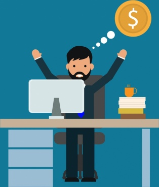 success concept happy businessman workspace decoration
