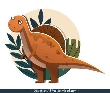 suchominus dinosaur icon cute cartoon sketch classical design