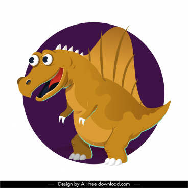suchominus dinosaur icon funny cartoon character sketch
