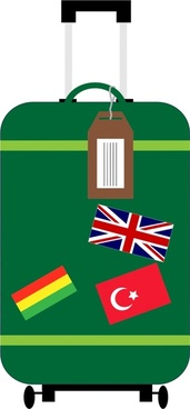 suitcase vector illustration with nations flags design tags