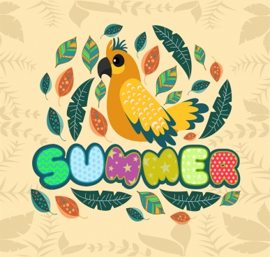 summer background colorful parrot leaves icons decoration