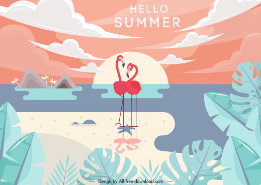 summer background flamingo icons beach scene decor