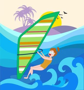 summer background joyful girl sail waves icons