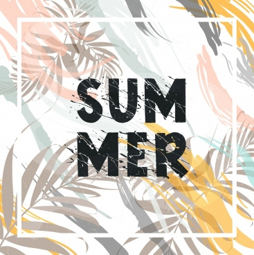 summer background leaves icons colorful grunge decor