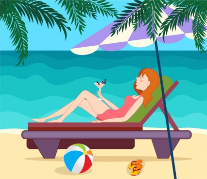 summer background relaxed girl beach icons cartoon design