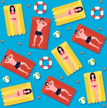 summer background relaxing people sunbath colorful flat design
