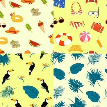 summer background sets repeating colored icons decor