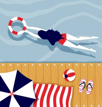 summer background swimming woman icons cartoon design