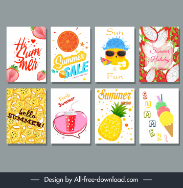 summer backgrounds templates colorful emblem decor