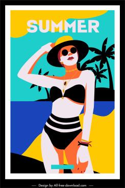 summer banner bikini girl sketch colorful classic