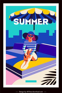 summer banner bikini lady sketch colorful cartoon design