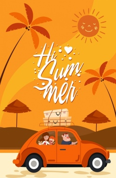 summer banner colored cartoon design