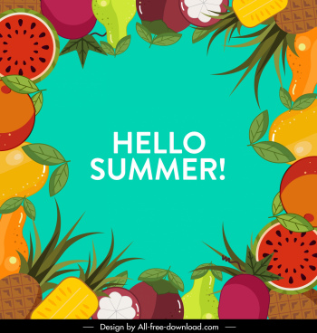 summer banner colorful fruits decor flat surrounding design