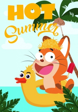 summer banner cute cartoon design stylized cat icon