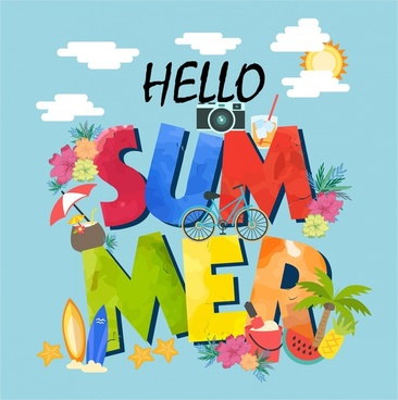 summer banner design with colorful texts and symbols