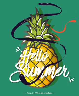 summer banner pineapple icon sketch dynamic decor