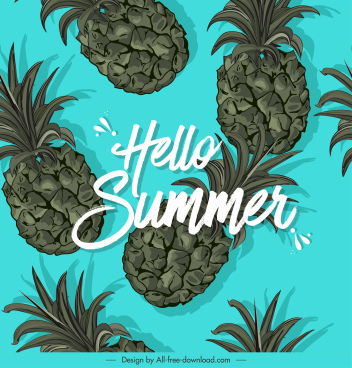 summer banner pineapples icons decor
