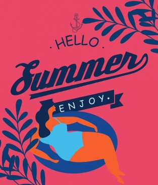 summer banner relaxed woman icon classical dark design