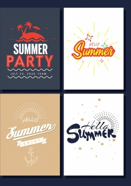 summer banner sets island sun calligraphy decoration