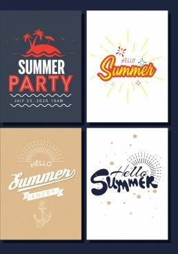 summer banner sets island sun calligraphy decoration