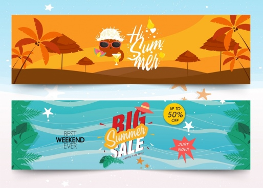 summer banner sets sale travel theme colorful design