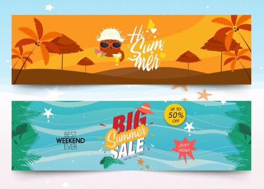 summer banner sets sale travel theme colorful design