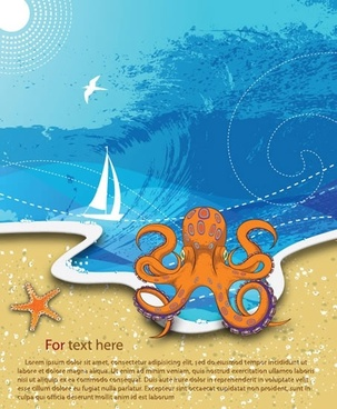 sea holiday banner splashing wave sail octopus sketch