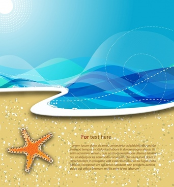 summer beach banner waves starfish sketch bright modern