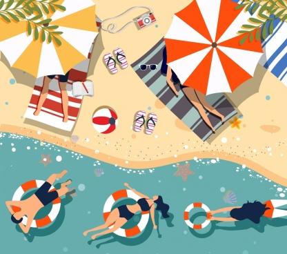 summer beach drawing relaxed people icon colored cartoon