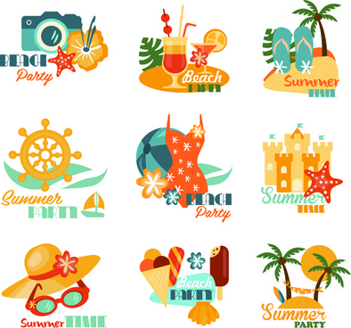 summer beach holiday labels vintage vector