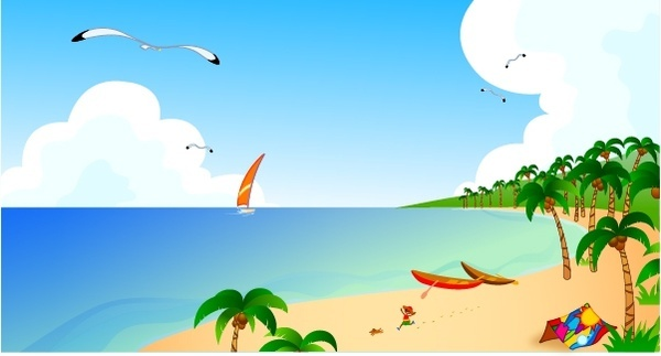 beach scene painting sail coconut seagull icons decor
