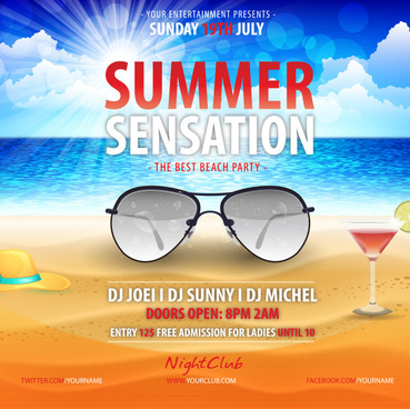summer beach party poster creative design vector