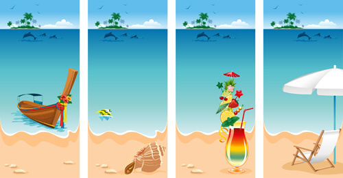 summer beach scenery vector