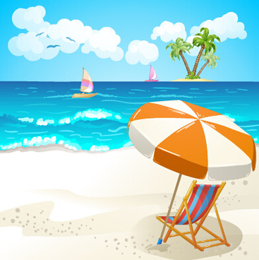 summer beach travel illustration background vector
