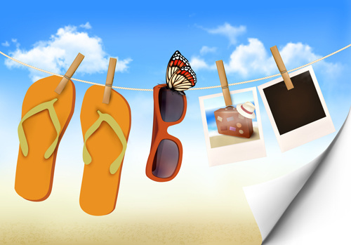 summer beach vacation background art vector