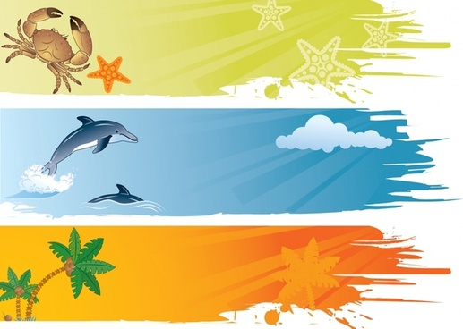 beach background templates colored splatter crab dolphin icons