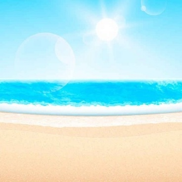 summer beach with sun background vector set